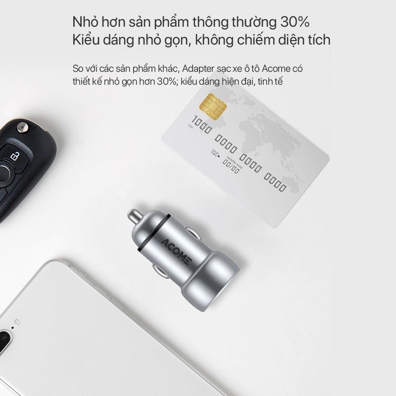 Cốc sạc Ôtô ACOME ACC02 2 Cổng Sạc USB & PD QC 3.0 27W - BẢO HÀNH 1 ĐỔI 1 CHÍNH HÃNG