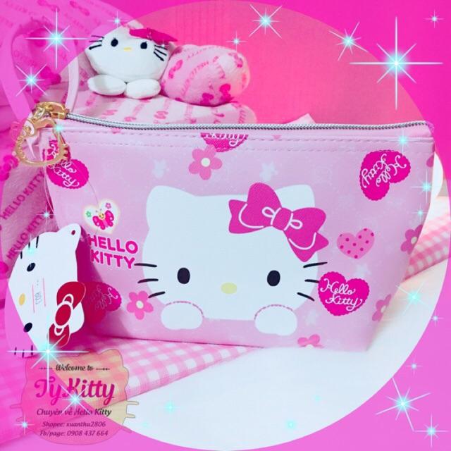 Bóp đựng đồ trang điểm 13*20cm Pu Hello Kitty