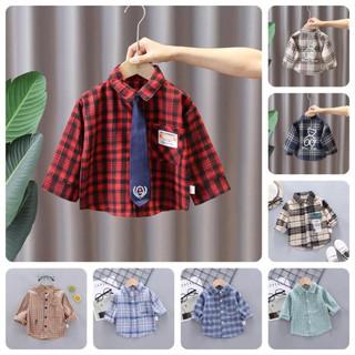 IST7 Size80-120 (6-21kg) Áo sơ mi cho bé trai, chấm bị lớn, nền áo trơn Freeship Hàng Quảng Châu Thời trang trẻ em thumbnail