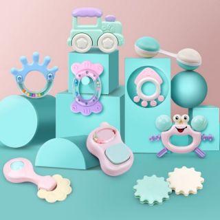 Bộ đồ chơi lục lạc, xúc xắc gặm nướu 8, 9,12,13 chi tiết tập cầm nắm cho bé