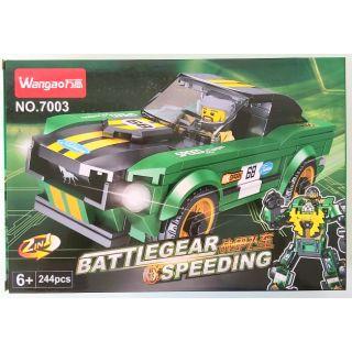 Bộ đồ chơi lắp ráp xe biến hình 2in1 xanh lá đậm