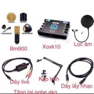 Combo thu âm BM900 karaoke, XOX K10 tặng tai nghe j5 (6 món).