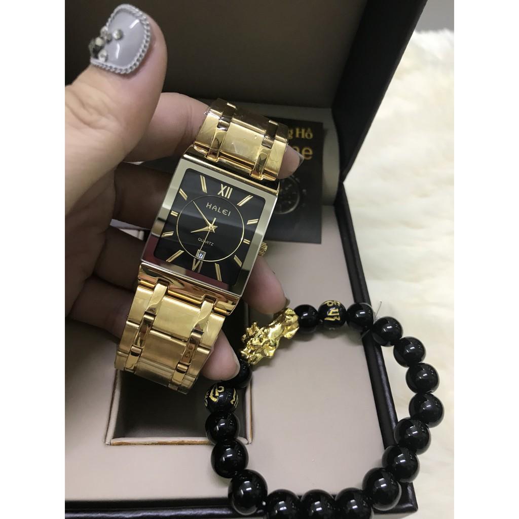 Đồng hồ nam HALEI vuông dây thép- TẶNG 1 vòng tỳ hưu - dây vàng mặt đen