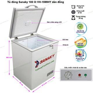 Tủ đông Sanaky 100 lít VH-1599HY dàn đồng