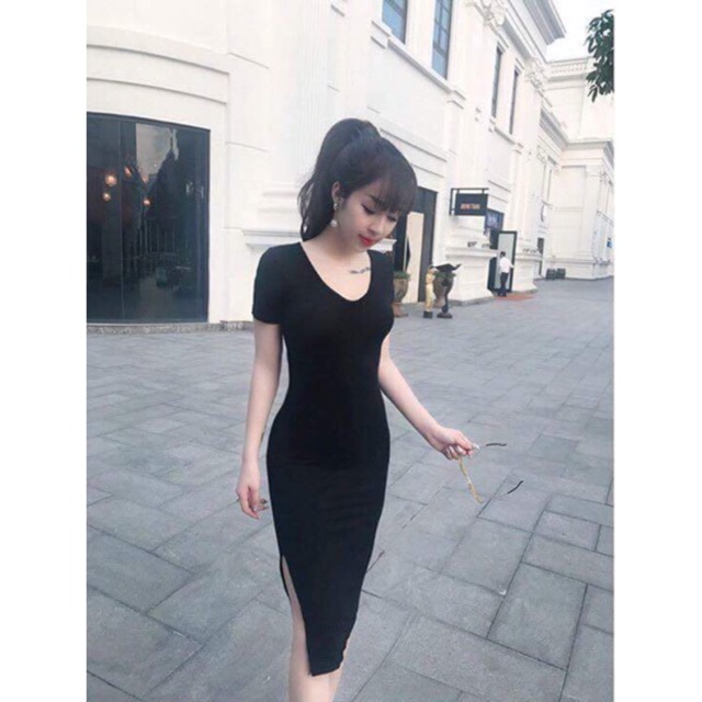 (Follow shop+like 10sp để mua giá 1K) VÁY ÔM BODY CỔ TIM, XẺ ĐÙI, SEXY LADY