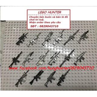 Phụ kiện Lego Lính : Combo 16 vũ khí Minifigures kim loại