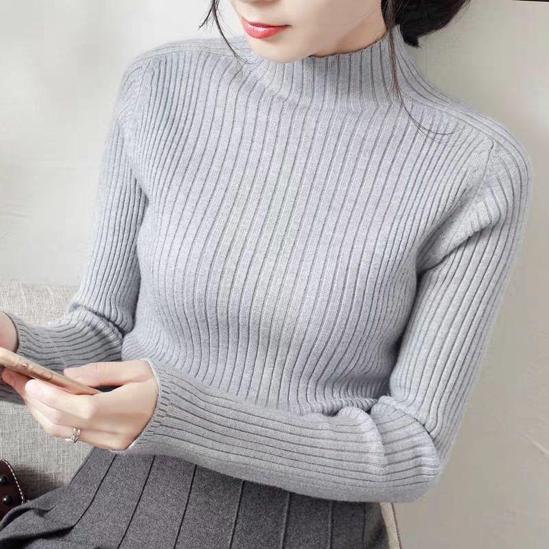 เสื้อกันหนาวแขนยาวแฟชั่นทรงสลิมสไตล์เกาหลี