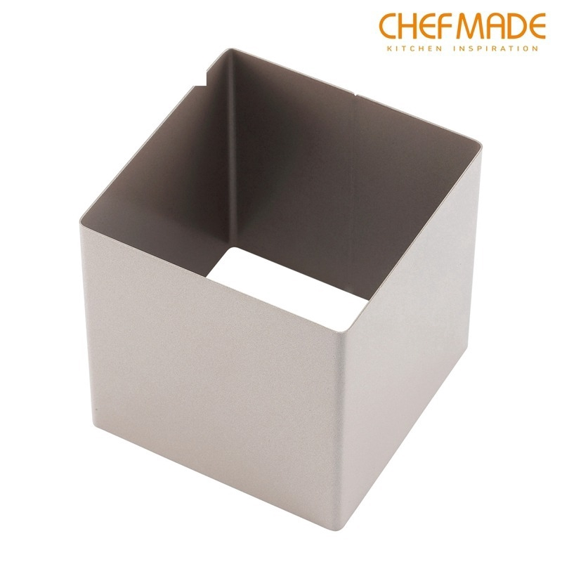 CHEFMADE 4 Inch Non-Stick Square Mousse Mould Gold Square Mousse Ring Toast Mold Seamless Baking Mold WK9207