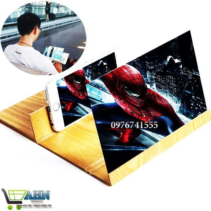 (Loại tốt) Kính 3D phóng to màn hình điện thoại 12 inch