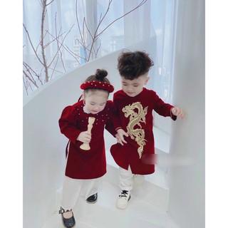 Áo dài cách tân cho bé trai bé gái, Áo dài Tết mẫu mới hottrend vải gấm cao cấp cho bé từ 9kg đến 35kg