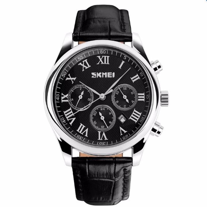 Đồng hồ nam dây da màu đen Skmei chạy full kim