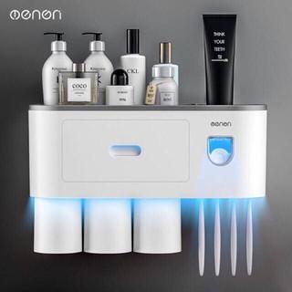 Kệ phòng tắm thông minh OENON kèm cốc từ tính, bộ nhả kem đánh răng tự động