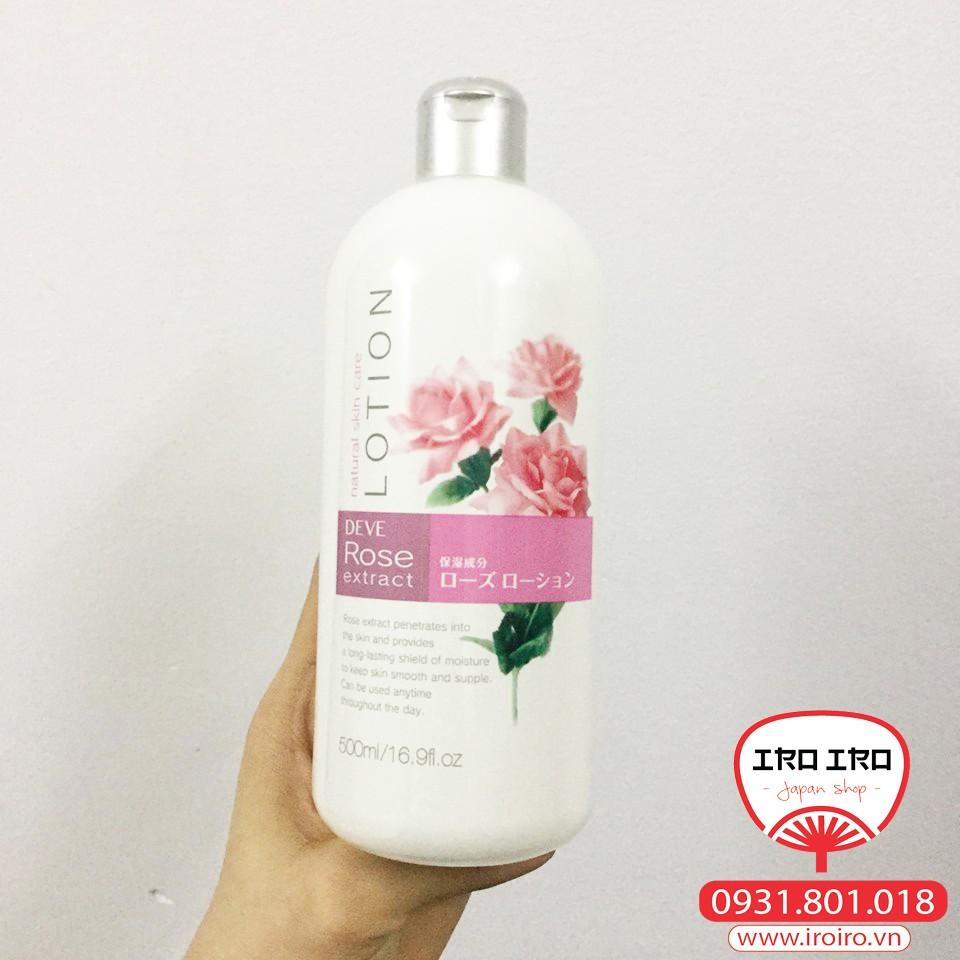 Lotion/toner dưỡng ẩm Hyaluronic acid và hoa hồng Deve hương hoa hồng 500ml