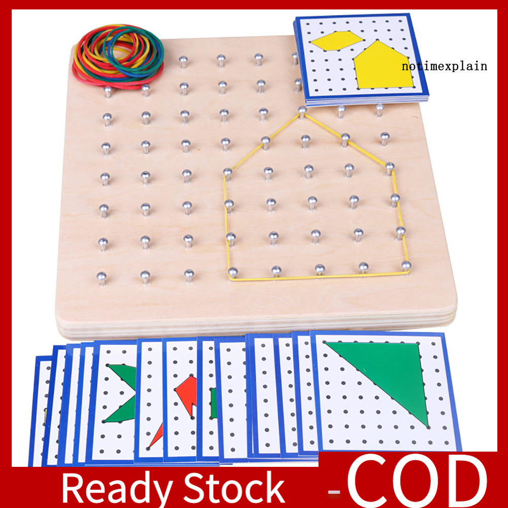 [Ready~] Graphics Rubber Tie Nail Geoboard with Cards Math Learning Education Kids Toy