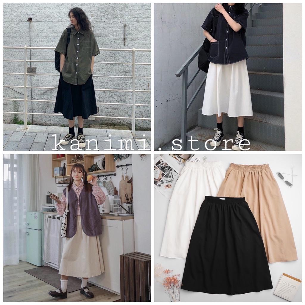 Chân váy đũi Hàn túi xẻ Kanimi - chân váy xoè dáng dài phong cách Ulzzang Hàn Quốc
