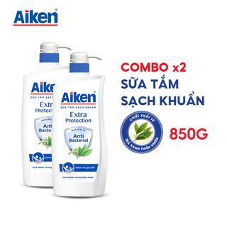 Aiken Combo 2 Sữa tắm Sạch khuẩn Chiết Xuất Trà Xanh Thiên Nhiên 850g chai thumbnail