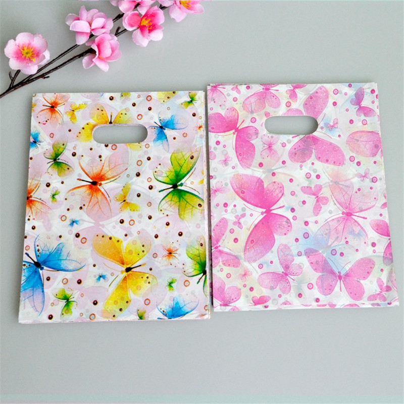 Plastic Gift Bags 100pcs Jewelry Shopping Bag With Handle Butterfly Birthday