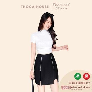 Quần giả váy ngắn kiểu xẻ dây kéo đen THOCA HOUSE năng động, thoải mái, dễ phối đồ phù hợp đi chơi, đi làm cho các nàng thumbnail