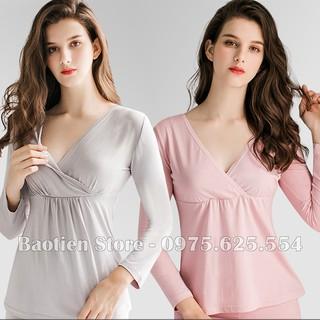 Áo Bầu và sau sinh dài tay thiết kế cho con bú dễ dàng, mặc được lúc mang bầu và sau sinh, áo ngủ cho bà bầu AB02 thumbnail