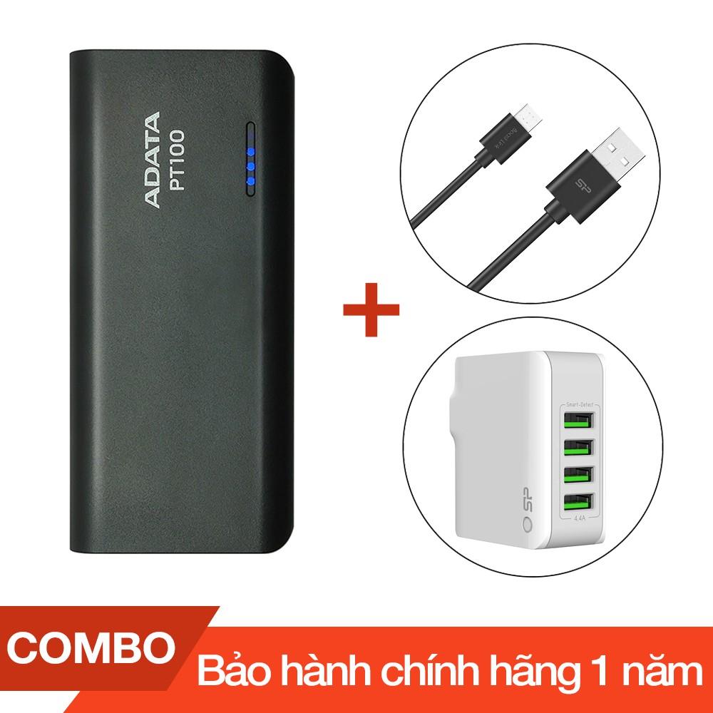 Combo Pin sạc dự phòng 10.000mAh ADATA PT100 + Cáp sạc micro USB Silicon dài 1m + Cốc sạc 4 cổng USB - 2748967 , 1086139023 , 322_1086139023 , 600000 , Combo-Pin-sac-du-phong-10.000mAh-ADATA-PT100-Cap-sac-micro-USB-Silicon-dai-1m-Coc-sac-4-cong-USB-322_1086139023 , shopee.vn , Combo Pin sạc dự phòng 10.000mAh ADATA PT100 + Cáp sạc micro USB Silicon dà