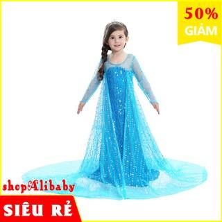 Váy đầm công chúa elsa đính kim sa kèm tà dài cho bé gái E152