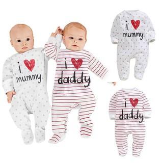 Mikrdoo Áo liền quần hoa có chữ I love Mommy & Daddy xinh xắn cho bé gái