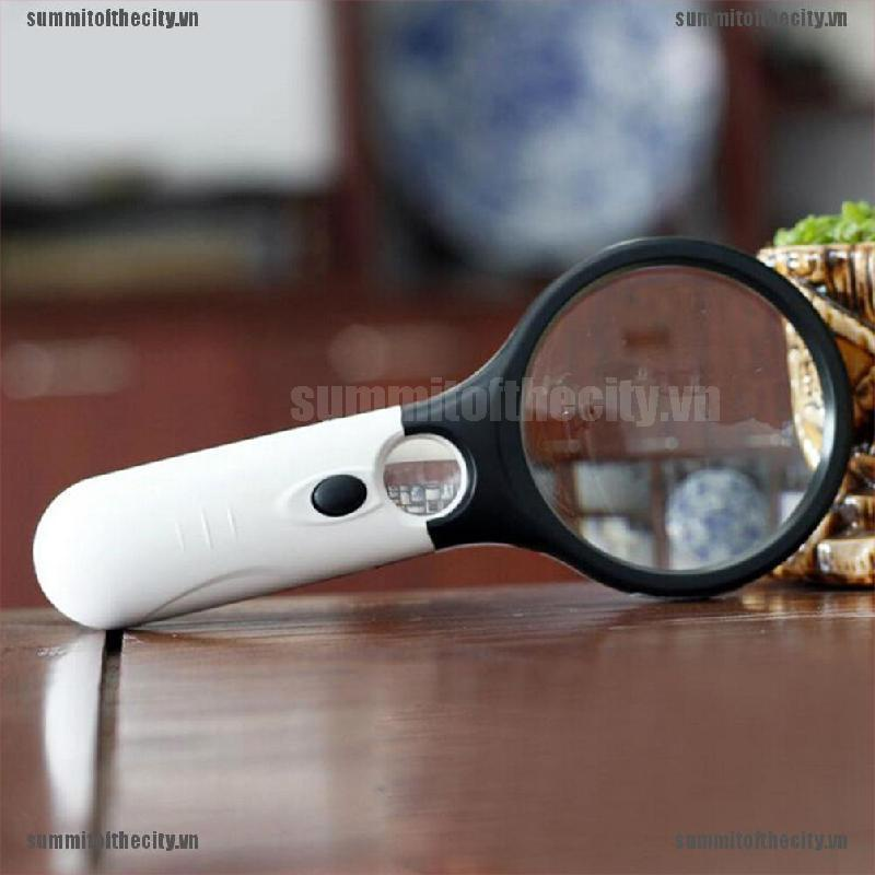 Sum Handheld 45X Magnifying Reading Glass Lens Jewelry Loupe With 3 LED Light