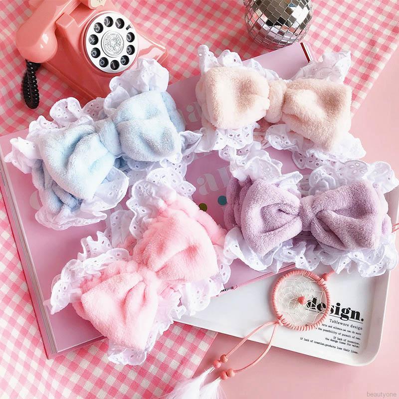 Women Sweet Lovely Headband Bow Lace Wash Hair Band