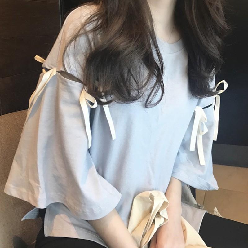 Áo THUN kiểu nữ cổ tròn tay loa thắt nơ xinh xinh kiểu dáng Hàn Quốc - 22687822 , 1239282974 , 322_1239282974 , 150000 , Ao-THUN-kieu-nu-co-tron-tay-loa-that-no-xinh-xinh-kieu-dang-Han-Quoc-322_1239282974 , shopee.vn , Áo THUN kiểu nữ cổ tròn tay loa thắt nơ xinh xinh kiểu dáng Hàn Quốc