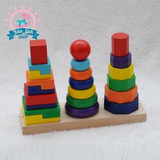 [Nhập mã TOYJUNE giảm 10K]Tháp chồng 3 cọc montessori  Đồ chơi an toàn phát triển trí tuệ