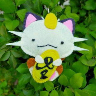 Mèo meowth ôm đồng tiền_vải nỉ