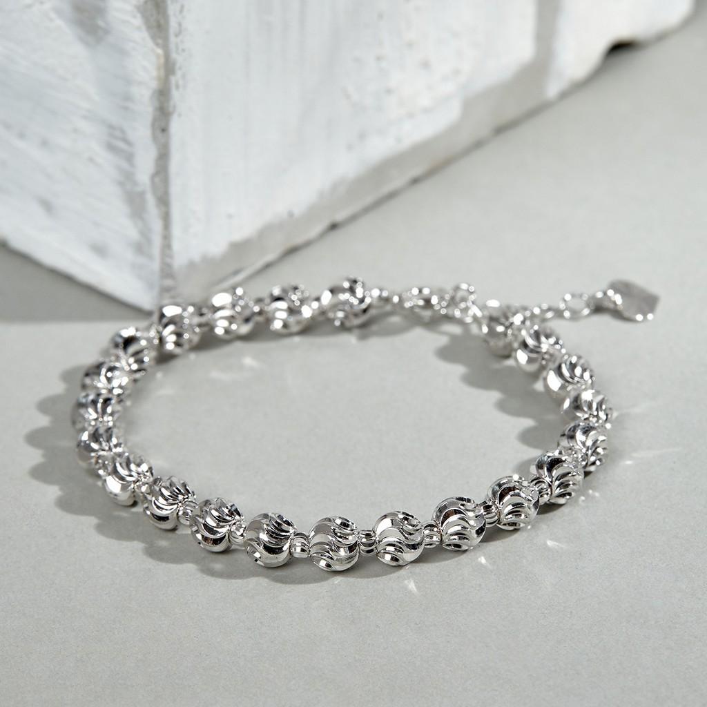 Vòng tay nữ bạc JK Silver kiểu dáng quả trám 925 hiện đại