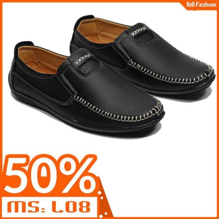 Giày lười da mềm nam đế cao su được khâu chắc chắn L08