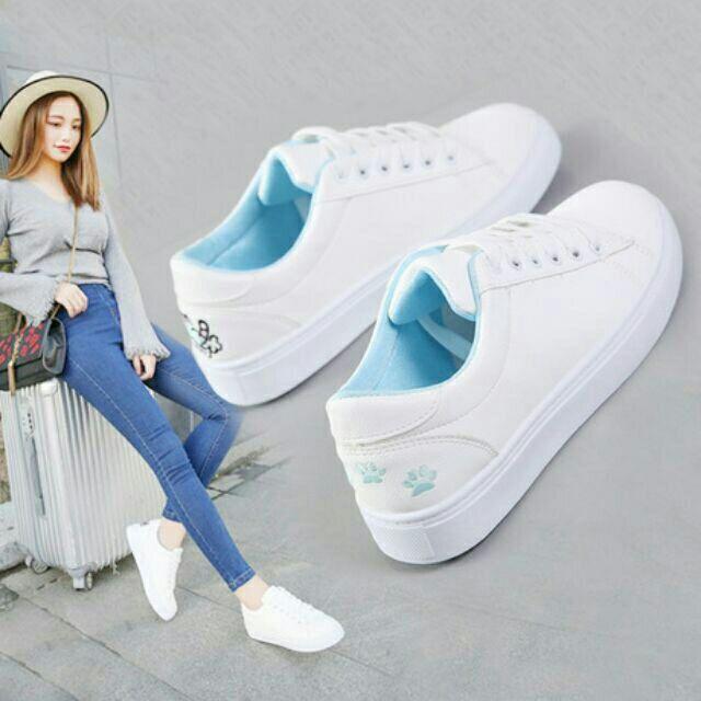 [Mã WSTOPT9 hoàn 30K xu đơn từ 150K] sale giày nữ | giày sneaker | phong cách style HÀN QUỐC mèo thêu gót