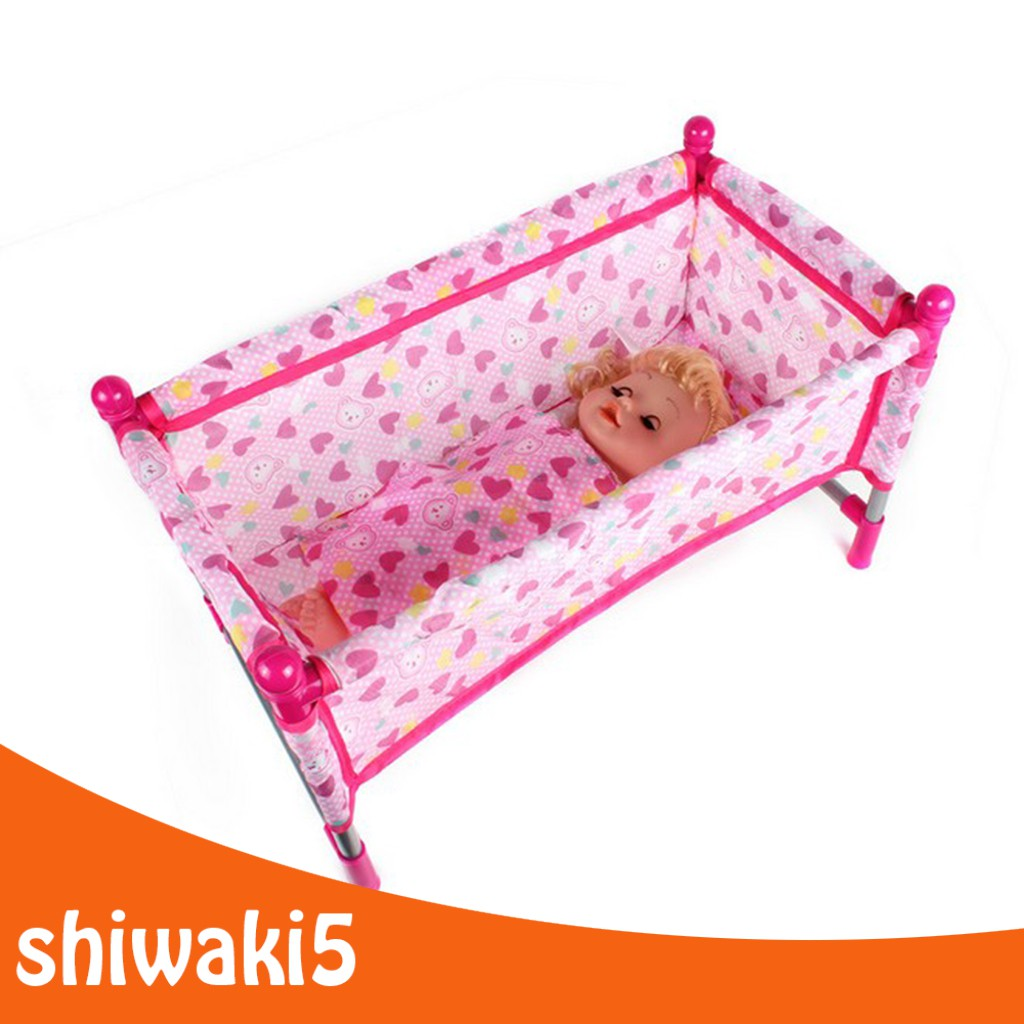 Bestdeal 1Set Reborn Doll Bed Baby Toddler Crib Baby Doll Bed Play House Toys Accs