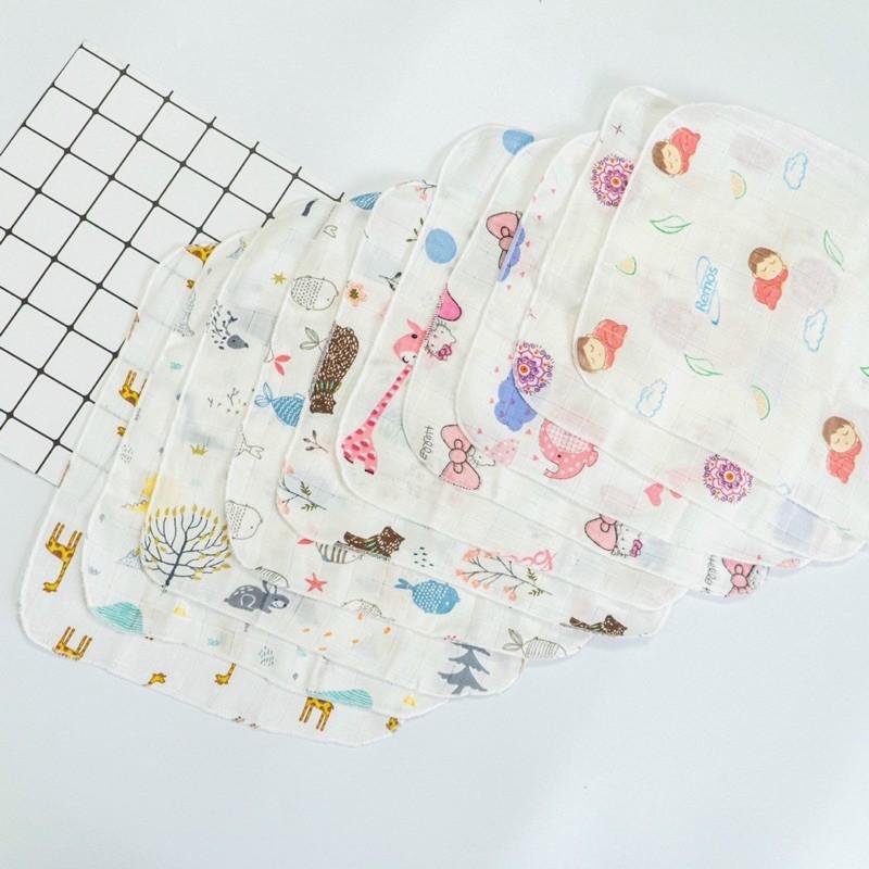 Set 10 chiếc khăn sữa sợi tre kèm túi lưới, đồ dùng cho bé - KHAN11