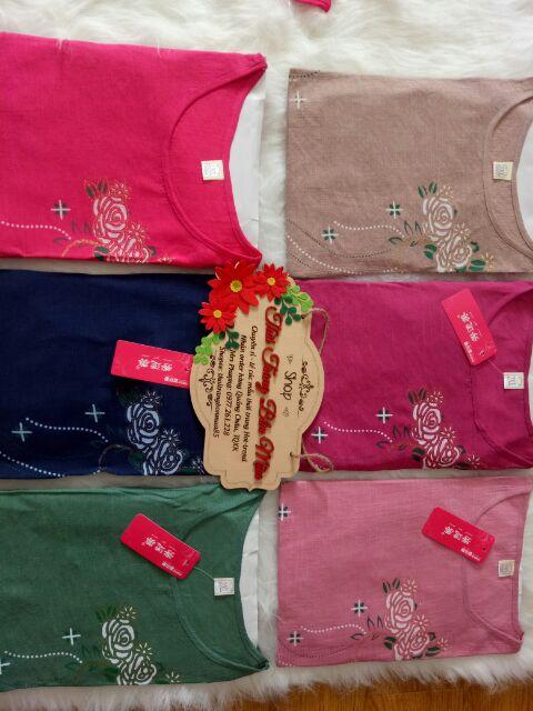 Quần áo mặc ở nhà họa tiết hoa hồng cho người trung tuổi (Video cận chất, hàng có sẵn)