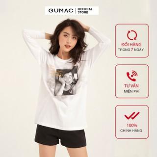 Áo thun nữ phom rộng tay dài in loang GUMAC đủ màu, thiết kế basic, năng động, trẻ trung ATB1123 thumbnail