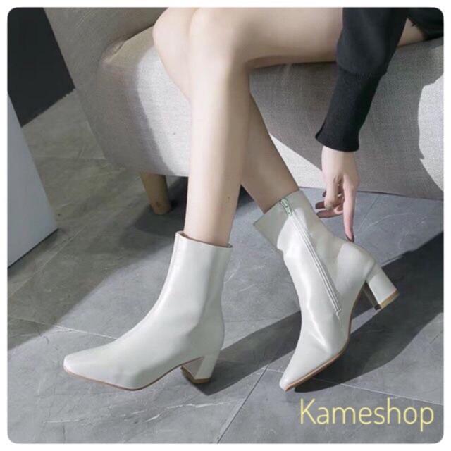 MÃ K1 _ Boots da trơn đế 6 cm trắng kem và đen.