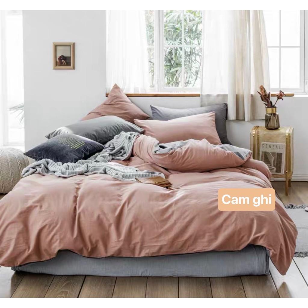 Bộ chăn ga gối Cotton tici DAA bedding - Mẫu Cam mix xám