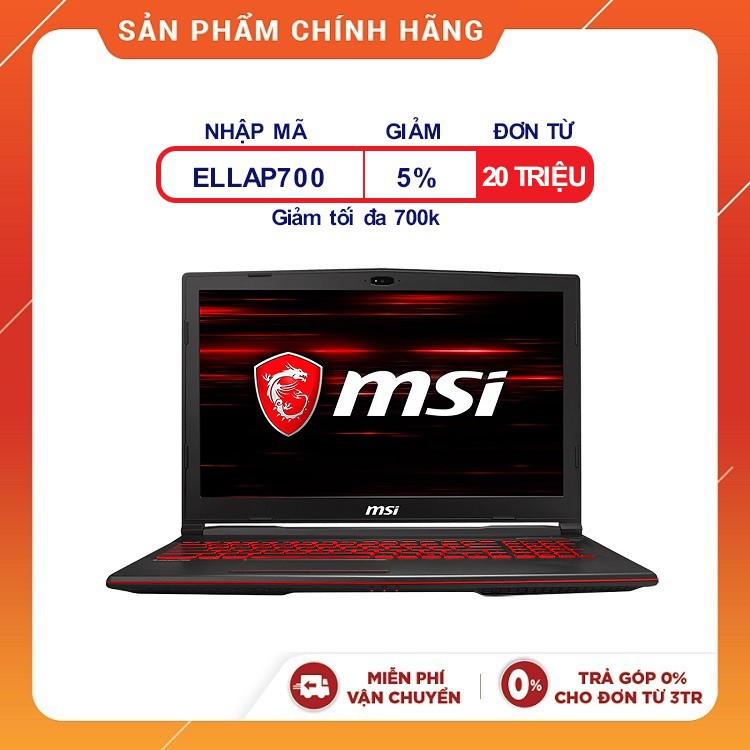 [Trả góp 0% ]Laptop MSI GL63 8RC-436VN (i7-8750H,15'6 inches)-Tặng Chuột MSI+Tấm lót chuột+Móc khoá