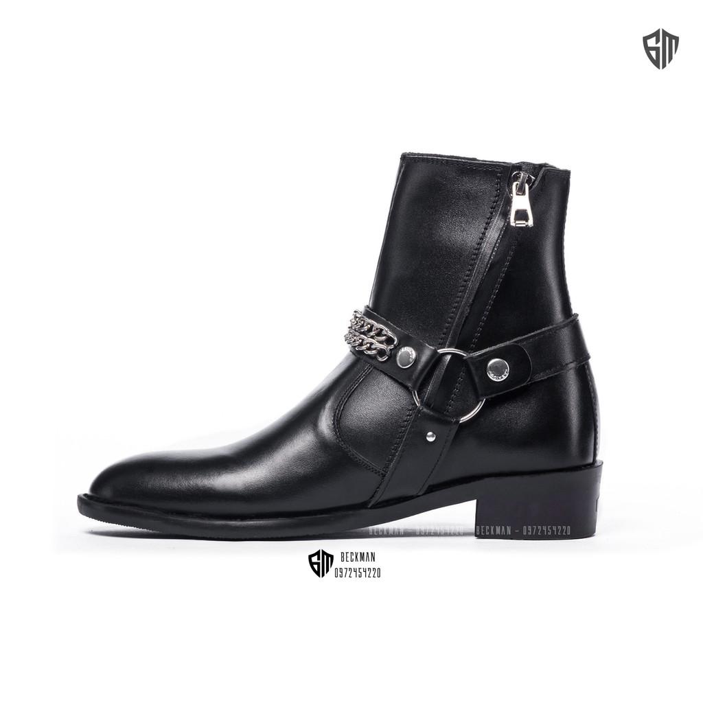 Giày nam Harness Boots Da Bò Đế Cao Su Cao Cấp BẢO HÀNH 12 THÁNG (Tặng Lót Đế)