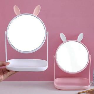 Yêu ThíchGương công chúa tai mèo và tai thỏ để bàn xoay 360 độ, đế vuông, để bàn trang điểm