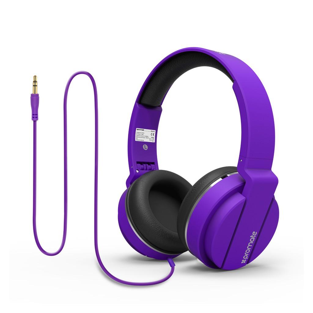 Tai nghe On-Ear Promate Encore dây 150cm (Tím)