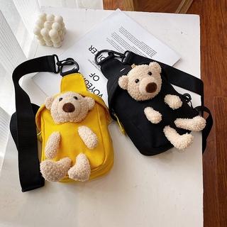 Túi Vải Mini Đeo Chéo In Hình Gấu Dễ Thương Dành Cho Nữ