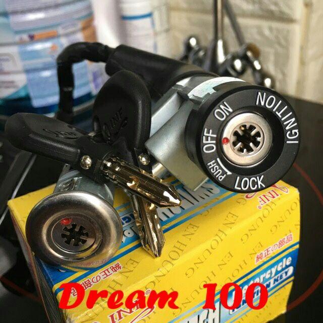 Bộ ổ khoá xe Dream 8 cạnh, Bộ khoá điện xe Dream 8 cạnh, khóa chống đoản xe dream