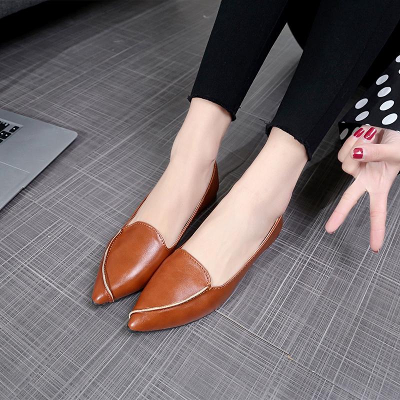 Giày lười da mũi nhọn thời trang cho nữ