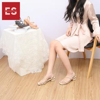 Hình ảnh Sandal nữ xỏ ngón dây mảnh thời trang Erosska cao 5cm màu kem_EB024-2