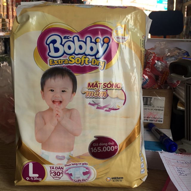 Bỉm Bobby Extra Soft -Dry dán L30 (9-13kg) - 3084914 , 684901808 , 322_684901808 , 135000 , Bim-Bobby-Extra-Soft-Dry-dan-L30-9-13kg-322_684901808 , shopee.vn , Bỉm Bobby Extra Soft -Dry dán L30 (9-13kg)