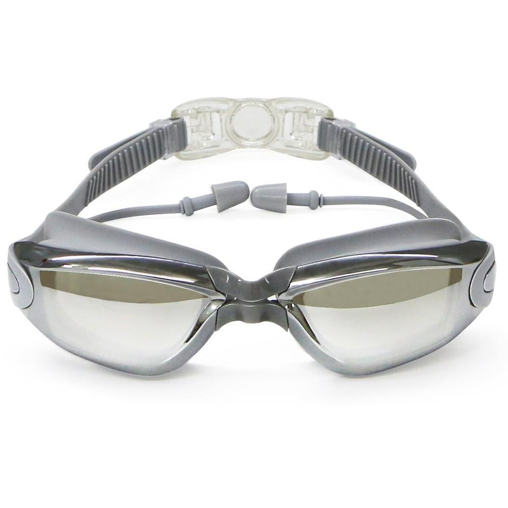 Kính bơi tráng gương cao cấp kèm hộp và bịt tai, chống tia UV thời trang trẻ trung